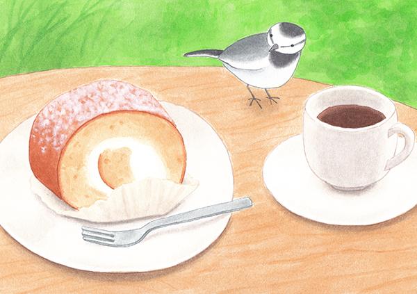 ロールケーキと鳥